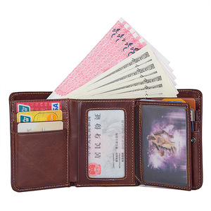 Image 2 - CICICUFF RFID Blocking Genuine Leather Men Wallet Brand Male Wallets Anti scanning Real Leather Short Purse with Coin Pocket