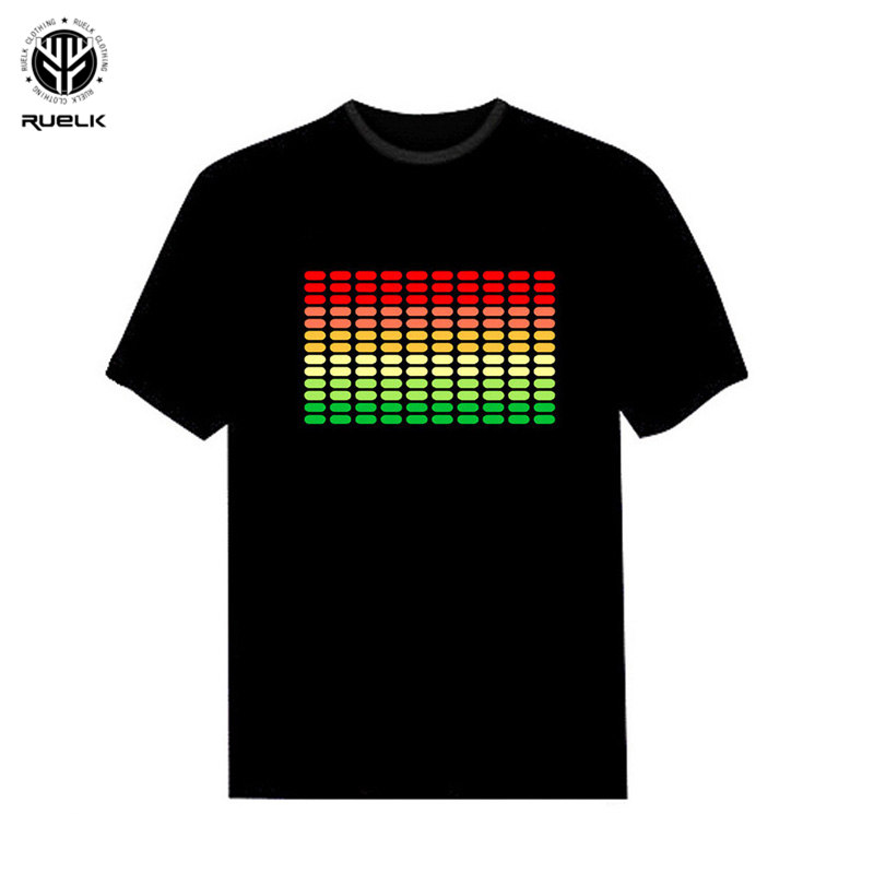 RUELK 2018 Sale Sound Activated LED   T     Shirt   Light Up and down Flashing Equalizer EL   T  -  Shirt   Men for Rock Disco Party DJ   T     shirt