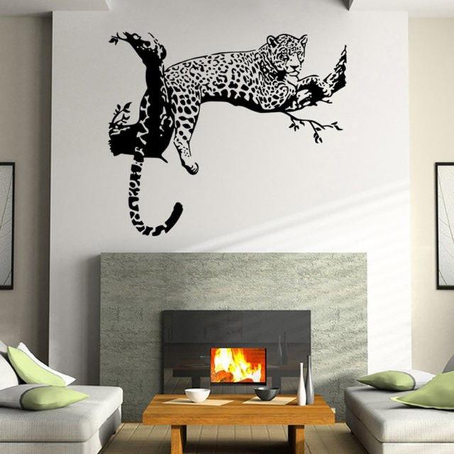 new arrival black color wild large leopard animal wall sticker tiger