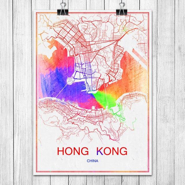 Karte China Hong Kong.Us 1 99 Hong Kong China Berühmten Bunten World City Karte Drucken Poster Abstrakte Beschichtetes Papier Bar Cafe Wohnzimmer Wohnkultur Wand