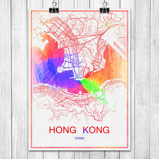 Hong kong china famous colorful world city map print poster abstract hong kong china famous colorful world city map print poster abstract coated paper bar cafe living gumiabroncs Choice Image