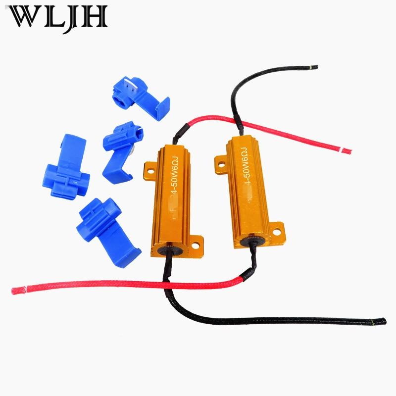 WLJH 2x 50W 6ohm Led-belastingsweerstand H1 H3 H4 H7 H8 H11 9006 1156 1157 HID Koplamp DRL Mistlamp Bedrading Canceller Decoder