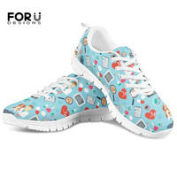 FORUDESIGNS Women's Veterinarian Flats Shoes Casual Sneakers Cartoon Surgeon Nurse Pattern Ladies Comfortable Mesh Shoes Woman