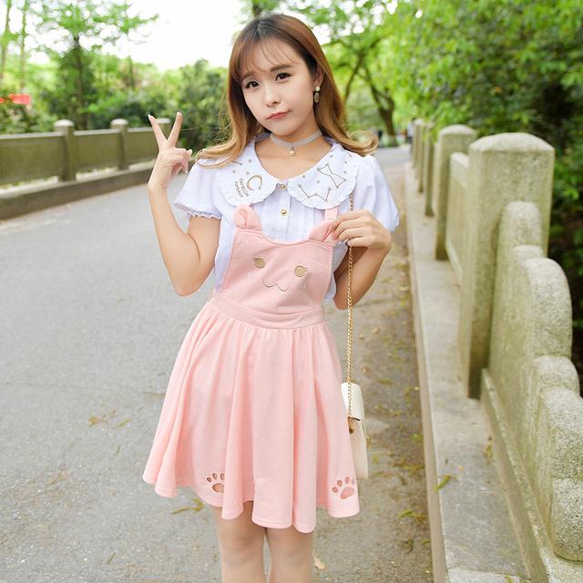Japonês lolita suspender saia de verão outono mulheres cat bordado escavar princesa kawaii saia sem mangas saia suspender