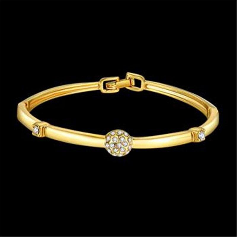 Браслет Дизайн для Для женщин Мода Сейф Пряжка Стиль украшений золото-цвет золото ювелирные изделия Чешский drill1
