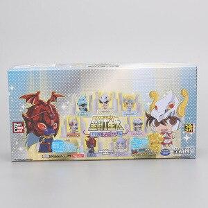 Image 2 - 21 יח\סט אנימה Seiya דמות זהב ביצת תיבת PVC פעולה איור אבירי של גלגל המזלות צעצוע דגם Q מהדורה ילדים מתנה