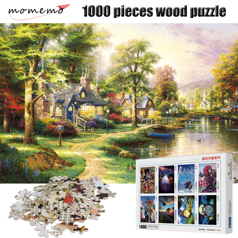 MOMEMO The Cozy Home Puzzle 1000 Pieces Wooden Jigsaw Puzzle Assembling Puzzles Game for Adults Children Toys with Box Packing