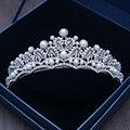 Barroco do vintage da Rainha Tiara de Strass Enfeites de Cabelo Cabeça Bridal Jóias Da Princesa Europeia Pérola Da Coroa Do Casamento Para A Noiva