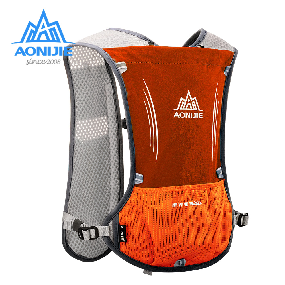 AONIJIE E913S 5L Hydration Backpack Rucksack Bag Vest Harness Water Bladder Hiking Camping Running Marathon Race Sports Orange