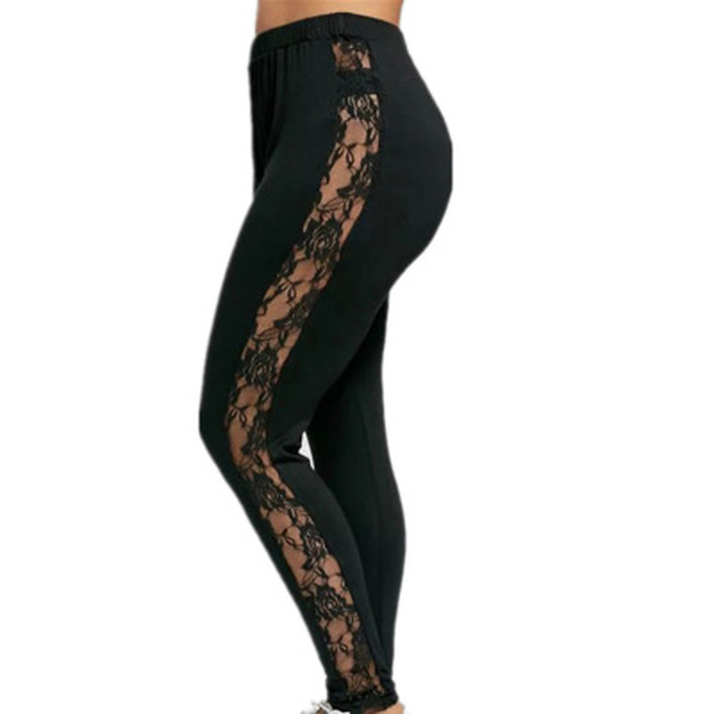 ZOGAA Women Plus Size L To 3XL Lace Patchwork Hollow Out High Waist Fitness Leggings Pants Stretch Trousers Fitness Slim Legging in Leggings from Women 39 s Clothing