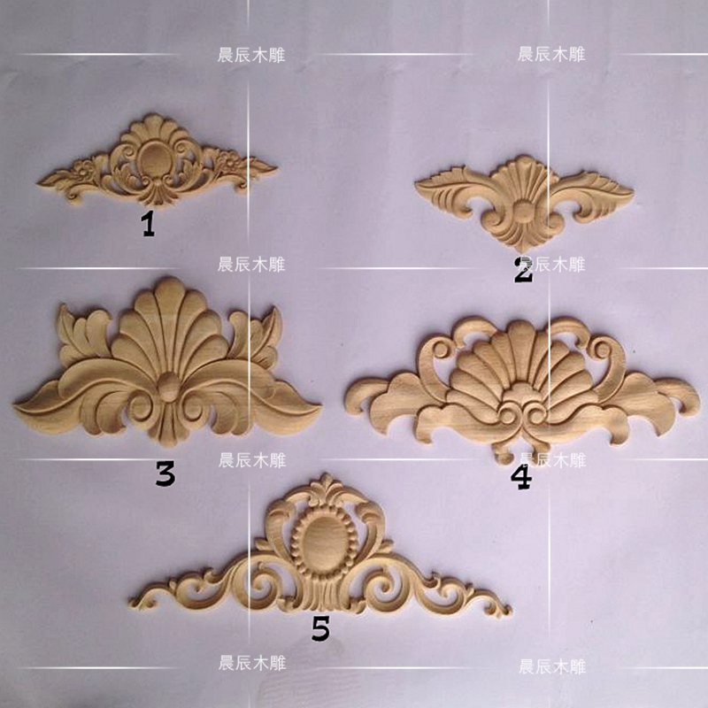 цены  2PCS/LOT Wood carving wood applique flower European wood long shaped flowers Home Furnishing furniture decoration