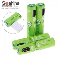 Soshine 4pcs 400mAh NiMH AAA Rechargeable Battery with Built in Micro USB Port 2 Ways to Charge for Wireless Mouse Game Handle