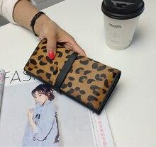 Fashion Echtes Leder Geldbörsen Damen Long Clutch Kartenhalter Luxus Leopardenmuster Handtasche Marke Brieftaschen
