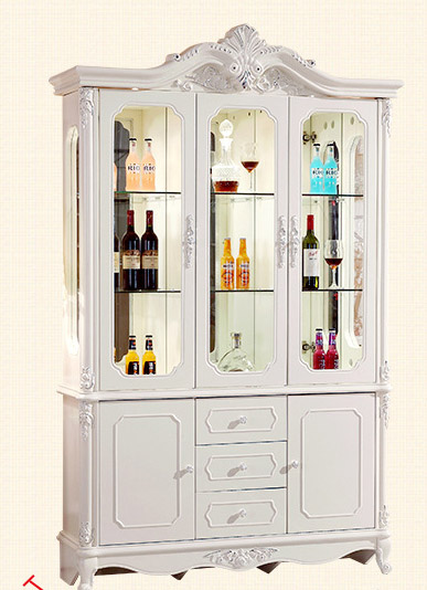 Living Room Three Doors Of French Carved Wood Smoke Tracing Silver Bucket Glass Wine Rack Simple