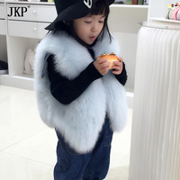 Fashion New 2017 Kids Real Fox Fur Vest Autumn Winter Baby Girl Coat natural Fox Fur Vests Children's Outerwear
