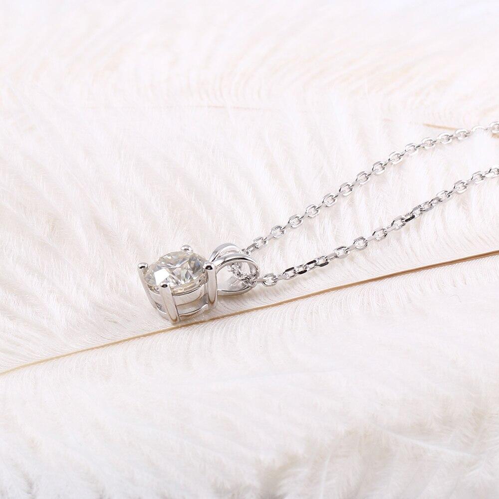 Transgemas Chapado en platino plata 2ct 8mm GH Color Moissanite colgante collar para mujer boda esterlina 925 colgante deslizante-in Colgantes from Joyería y accesorios    3