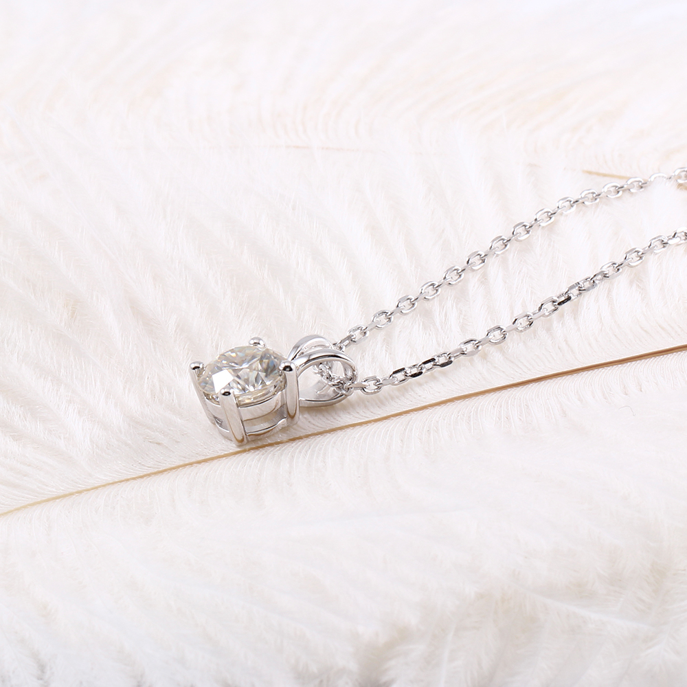 Transgems Platinum Plated Silver 2ct 8mm GH Color Moissanite Pendant Necklace for Women Wedding Sterling 925 Slide Pendant