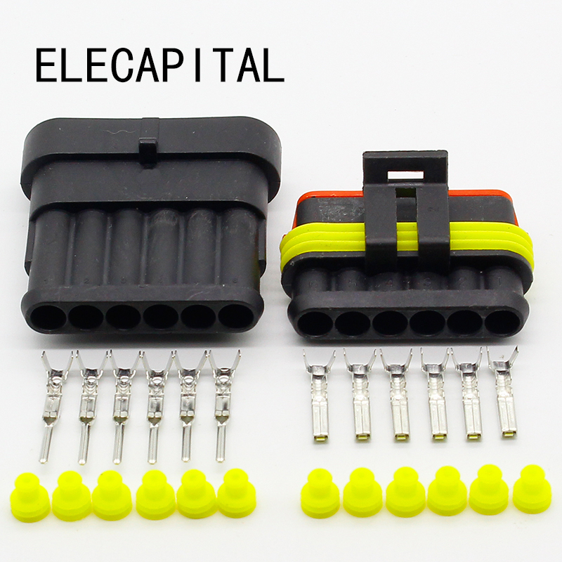 5 Sets NEW Car Part 6 Pin Way Sealed Waterproof Electrical Wire Auto Connector Plug Set Free Shipping black 50 sets 4 pin dj3041y 1 6 11 21 deutsch connectors dt04 4p dt06 4s automobile waterproof wire electrical connector plug