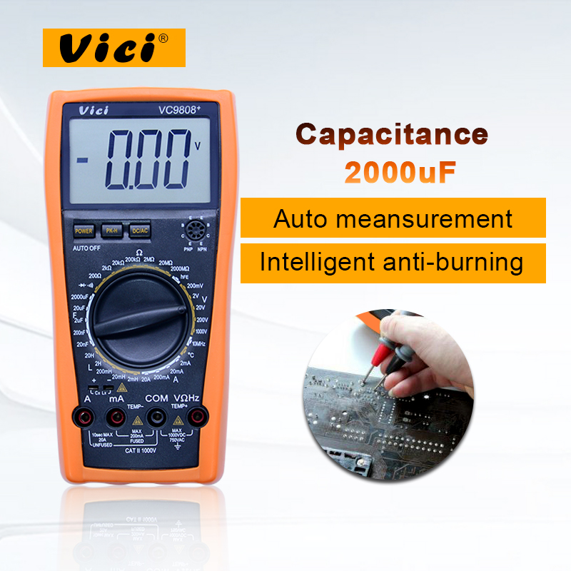 цены Digital Multimeter VC9808+ 3 1/2 with DCV ACV DCA ACA Resistance Inductance Capacitance Frequency Measurement Large LCD Display