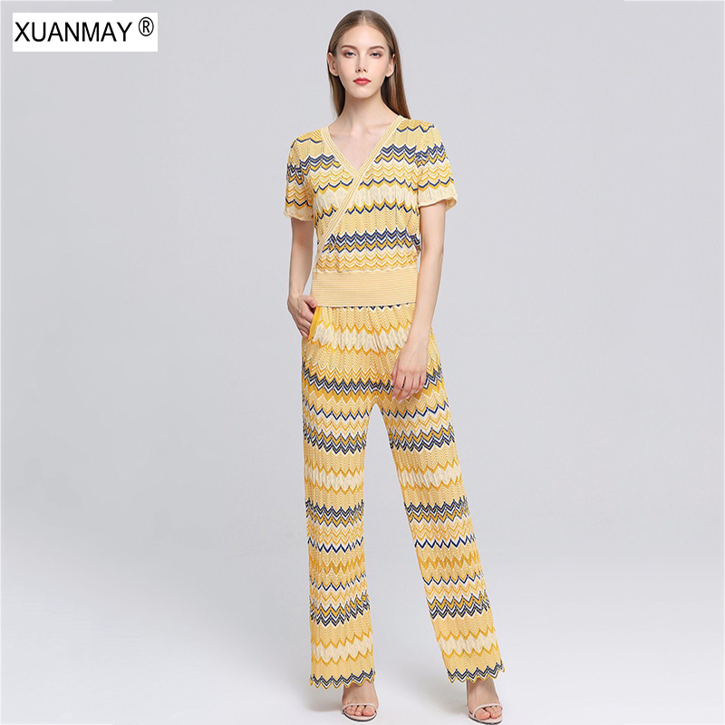 2019 Autumn Women s Knit Tops and Trousers Two piece Bohemian women s stripes Suit coat