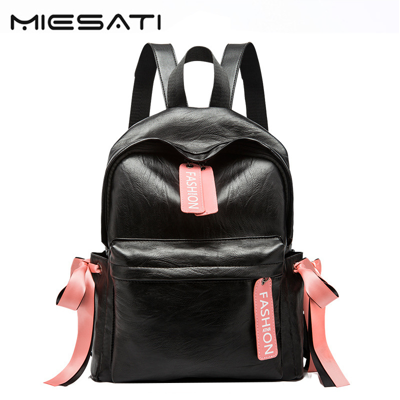 Korean Style Backpack Women Leather Backpack Female Color Ribbons Zipper Head Spring And Summer Students Backpacks big and small 400 have 24 colours wholesale korean fashion pu zipper primary and secondary school students backpack 20171201