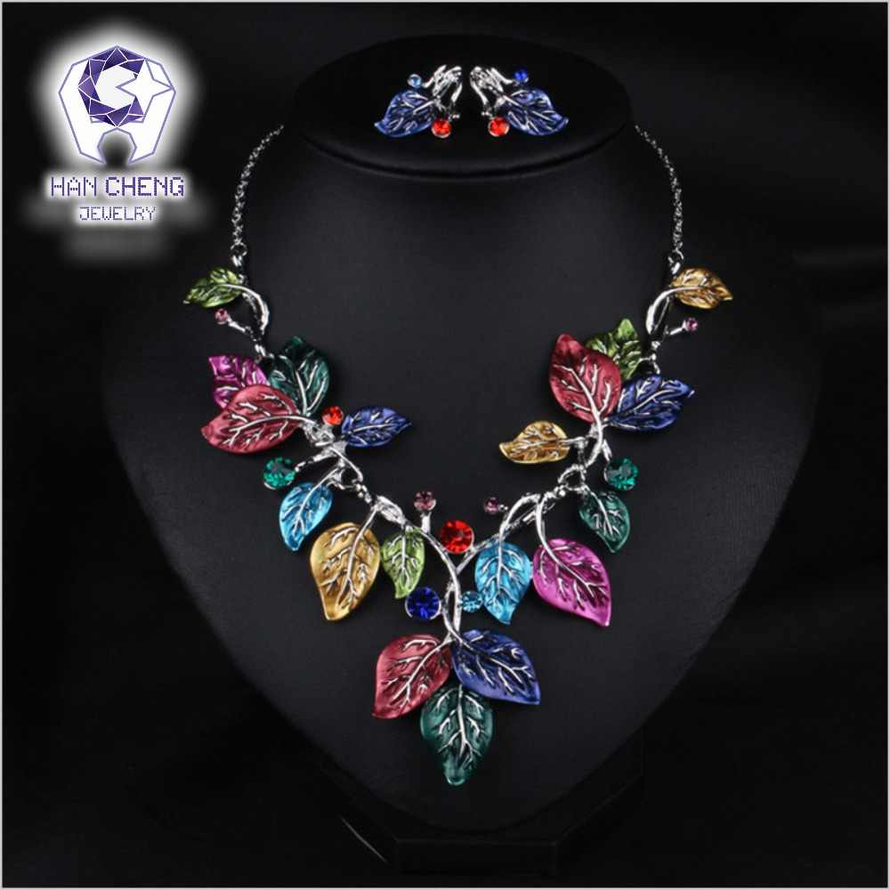 HanCheng Fashion Luxury Bohemian Metal Paint Leaf Alloy Rhinestone Statement Maxi Choker Necklace Women Jewelry leagtha collier