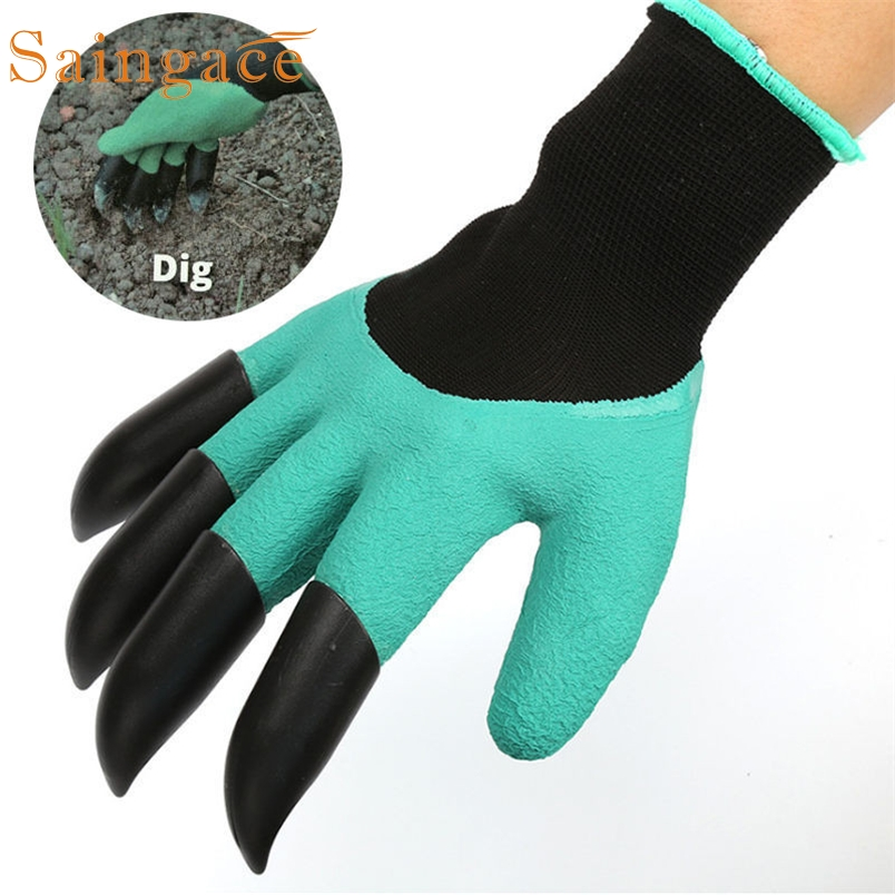 Saingace garden gloves Garden Gloves with 4 ABS Plastic Claws for garden Digging Planting*20 2017 1 pair hot sale Drop shipping ...
