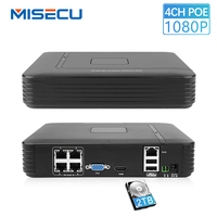 MISECU Mini 4CH POE NVR 48V 1080P HDMI Full HD Network Video Recorder For IP Camera P2P Motion Detection Access Remote IE Cloud