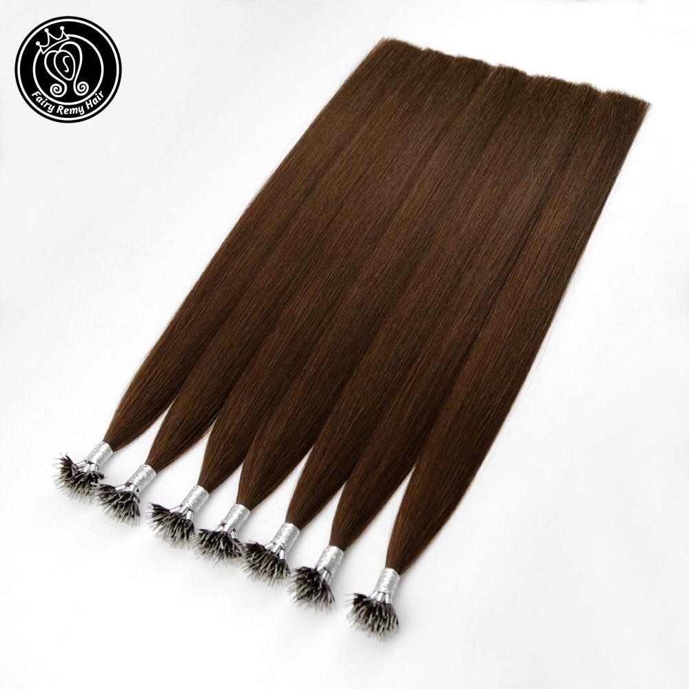 Fairy Remy Hair 14-22 Inch Micro Nano Ring Hair Extensions Human Hair Brown #4 0.8g/s Double Drawn Nano Tip Hair Extensions