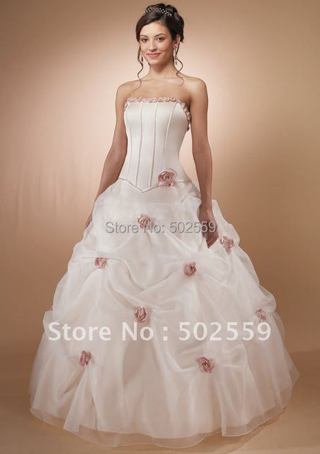 Wholesale Price Women Wedding Dress With  Beaitiful Flower