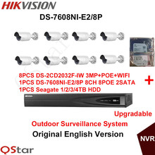 Hikvision Original English Outdoor Surveillance System DS-2CD2032F-IW 3MP IP WIFI Camera POE+6MP Recording NVR DS-7608NI-E2/8P