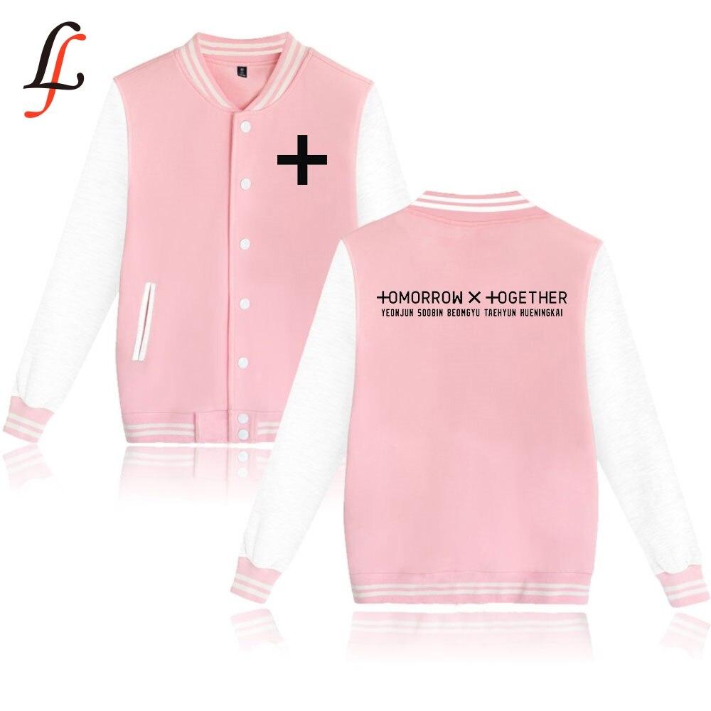 3d mulher/homem txt amanhã juntos harajuku moletons moletom inverno casual jaqueta de beisebol modis kpop streatwear topos