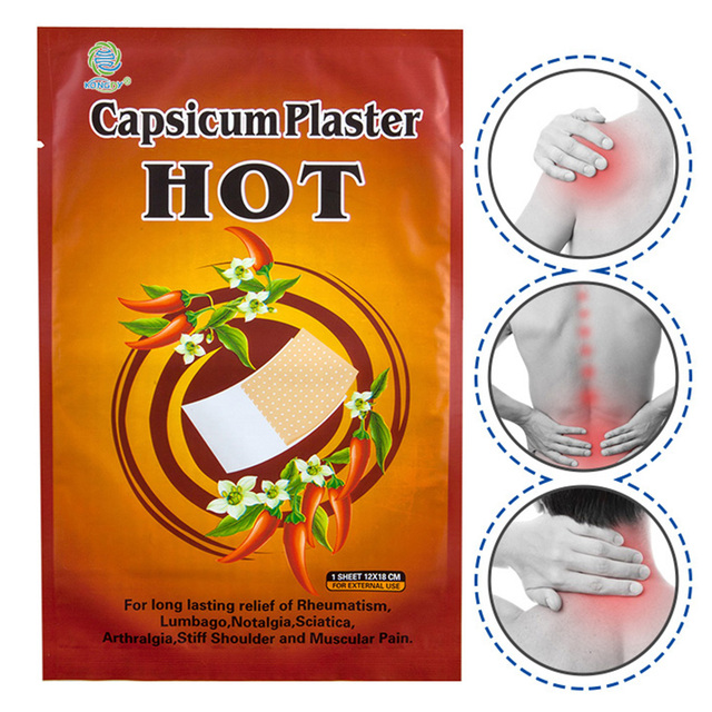 KONGDY 50Pieces Hot Capsicum Plaster With Retail Box Pain Relief Patch Neck Pain Relieving Pad 12x18cm Medical Herbal Plaster