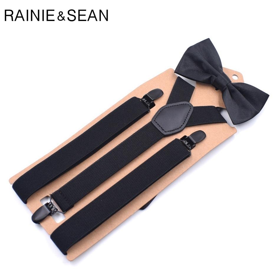 RAINIE SEAN Mens Suspenders Bow Tie Solid Black Unisex Y Back Adult Trousers Braces For Men Women Wedding Bowtie Suspender Set