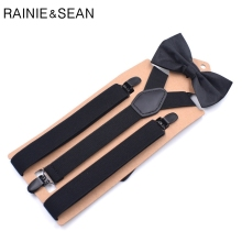 RAINIE SEAN Mens Suspenders Bow Tie Solid Black Unisex Y Back Adult Trousers Braces For Men Women Wedding Bowtie Suspender Set
