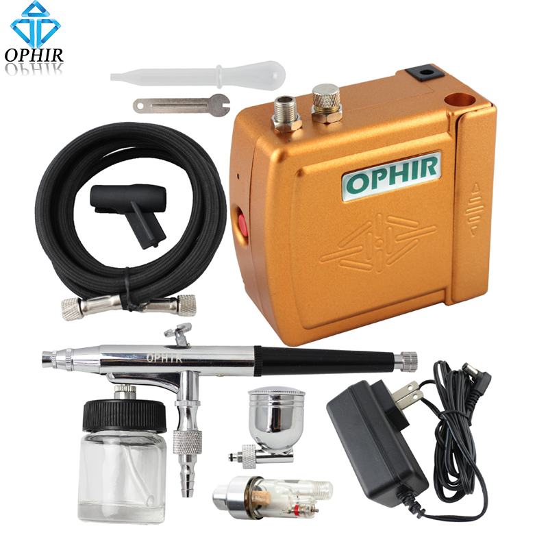 OPHIR DC 12V Airbrush Compressor Set 0.3mm Dual Action Airbrush Kit with Air Compressor Makeup Nail Art Paint_AC003+AC005+AC011 ophir 0 3mm dual action airbrush kit with air compressor