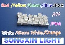 200 pces smt/smd 3528 led vermelho/amarelo/verde/gelo azul/rgb/branco morno/rosa/roxo uv/laranja/água claro smd 1210 diodos led PLCC-2