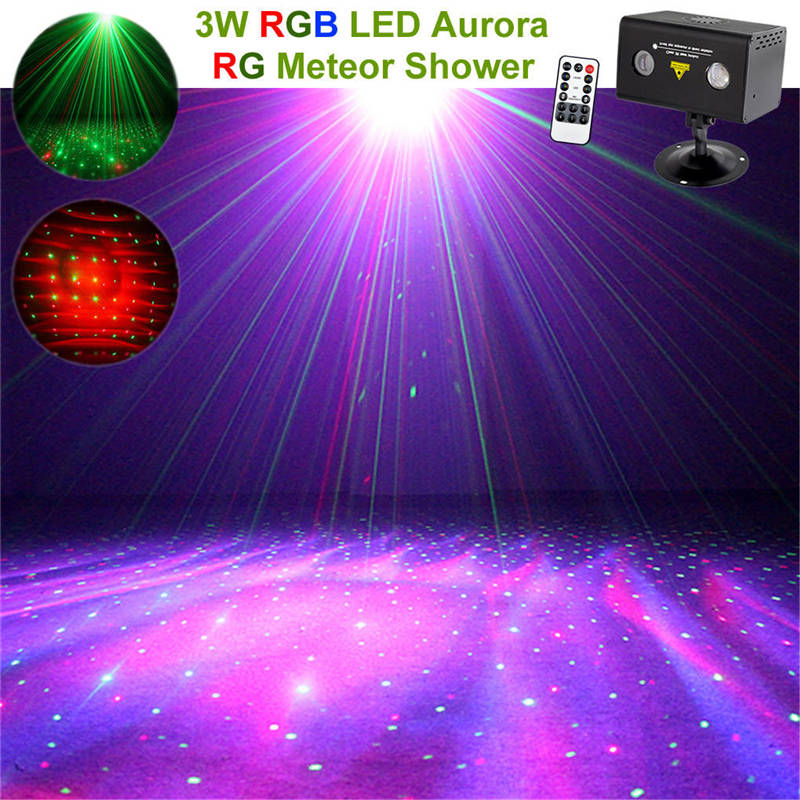 AUCD Mini Remote Red Green Laser Projector Stage Lights RGB LED Galaxy Meteor Sound AUTO Mode Show Disco Party DJ Home Lighting цены онлайн