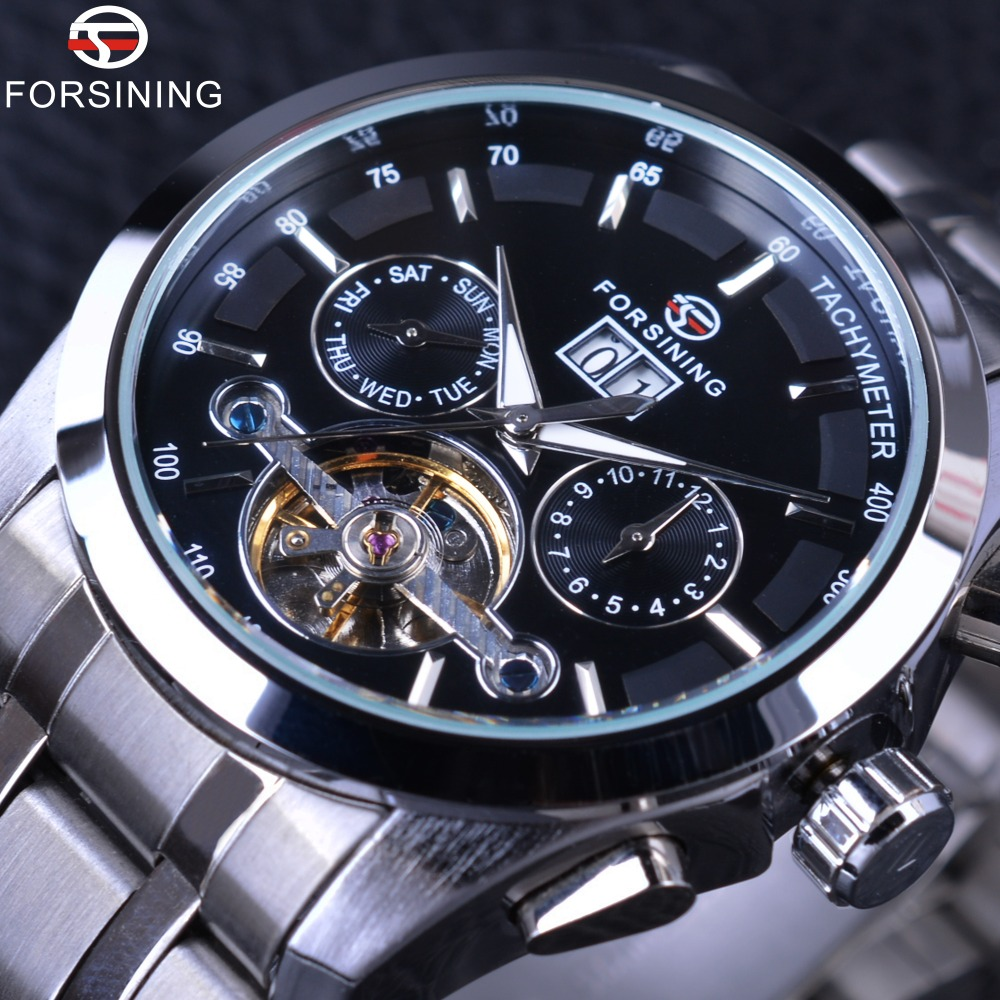 Forsining Luxury Business Series Tourbillion Stainless Steel Design Calendar Mens Automatic Watches Top Brand Luxury Wrist WatchForsining Luxury Business Series Tourbillion Stainless Steel Design Calendar Mens Automatic Watches Top Brand Luxury Wrist Watch