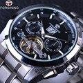 Forsining luxo série de negócios de design calendário turbilhão de aço inoxidável mens automatic relógios top marca de luxo relógio de pulso