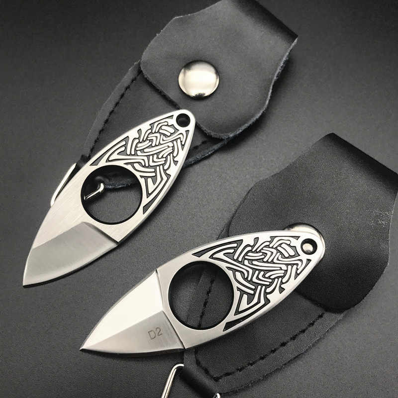 D2 Steel Neck Knife Knuckles Outdoor EDC Tool Fixed Blade Tactical Pocket Knife Key Chain Nuckles With Leather Sheath