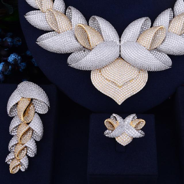 Godki luxury lotus flower cubic zirconia african indian necklace godki luxury lotus flower cubic zirconia african indian necklace earring set dubai nigerian wedding jewelry sets mightylinksfo