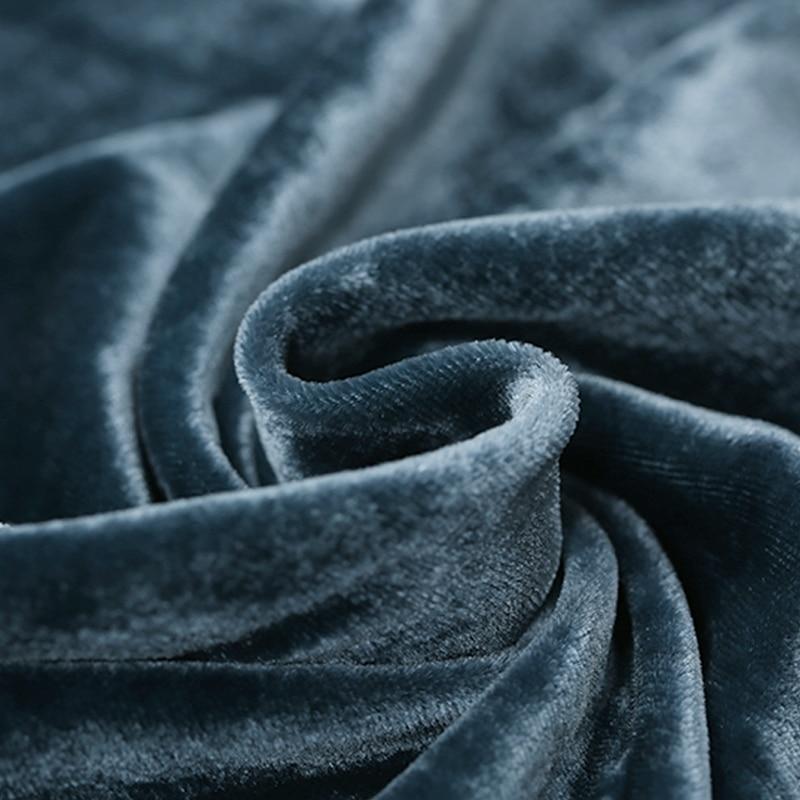Blue gray heavy silk velvet fabric drape dress evening dress ...