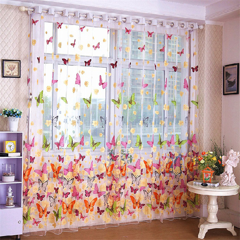 Butterfly print sheer window curtain tulle voile curtains for Balcony curtains