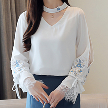 Korean Style Women Blouse Spring 2019 Autumn new blouses shirt embroidered lace sleeves long sleeved chiffon Fresh white 807A3 white round neck bell sleeves embroidered blouses