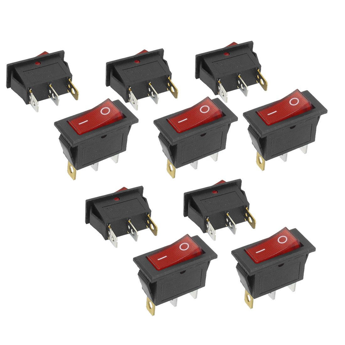 Promotion! 10Pcs 3 Pin SPST Neon Light On/Off Rocker Switch AC 250V/10A 125V/15A promotion 5 pcs x red light illuminated double spst on off snap in boat rocker switch 6 pin
