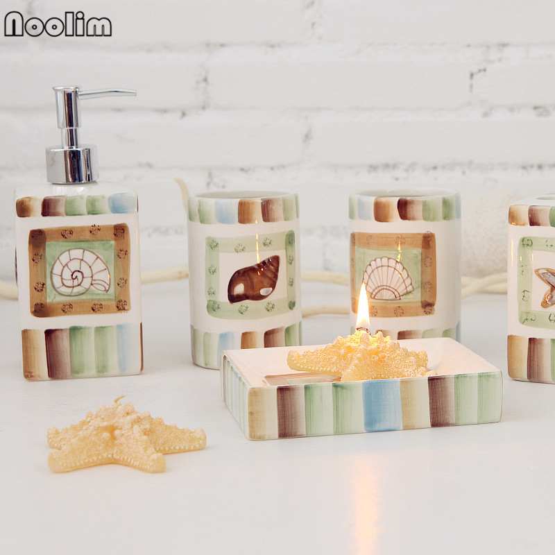 NOOLIM Fashion Sea Shell Ceramic Bathroom Set Five Piece Bathroom  Accessories Set Home Decoration In Bathroom Tumblers From Home U0026 Garden On  Aliexpress.com ...