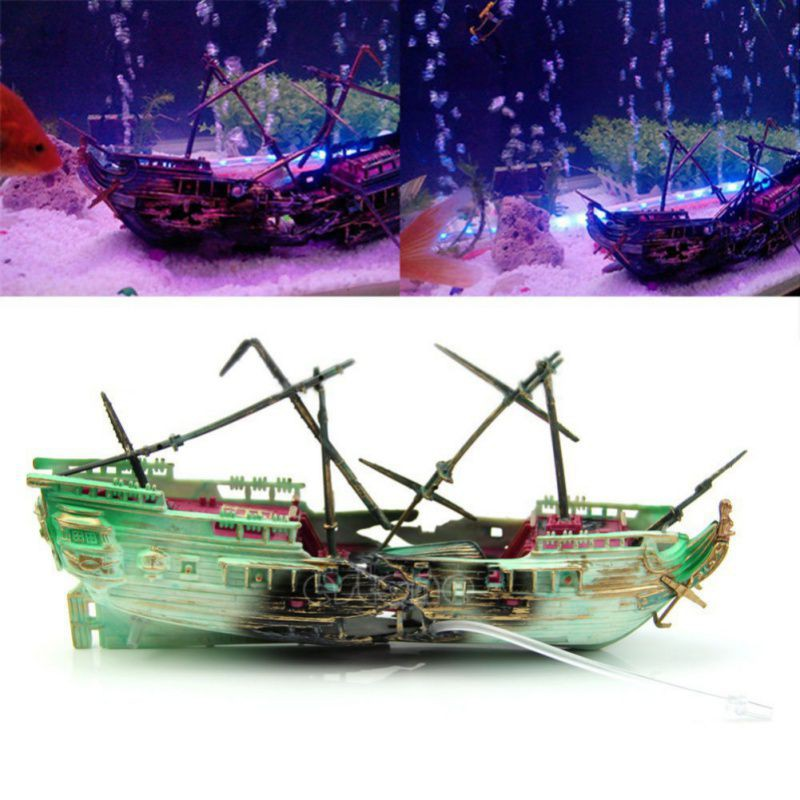 24*6*13 cm Große Aquarium Dekoration Plactic Aquarium Schiff Boot Luft Split Shipwreck Aquarium Decor Wrack versenkt