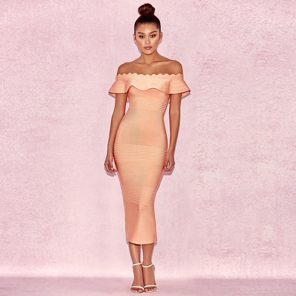 Pink 2020 New Women Summer Dresses Ladies Off Shoulder Ruffles Elegant Luxury Bodycon Sexy Cocktail Party Bandage Dress Md631