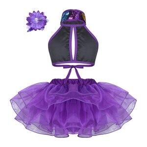 Image 2 - Viola Ragazze Costumi di Danza Moderna Sala Da Ballo Danza Halter Shiny Paillettes Crop Top con Gonne Clip di Capelli di Balletto Jazz Dancewear